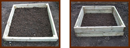 raised wooden vegetable bed